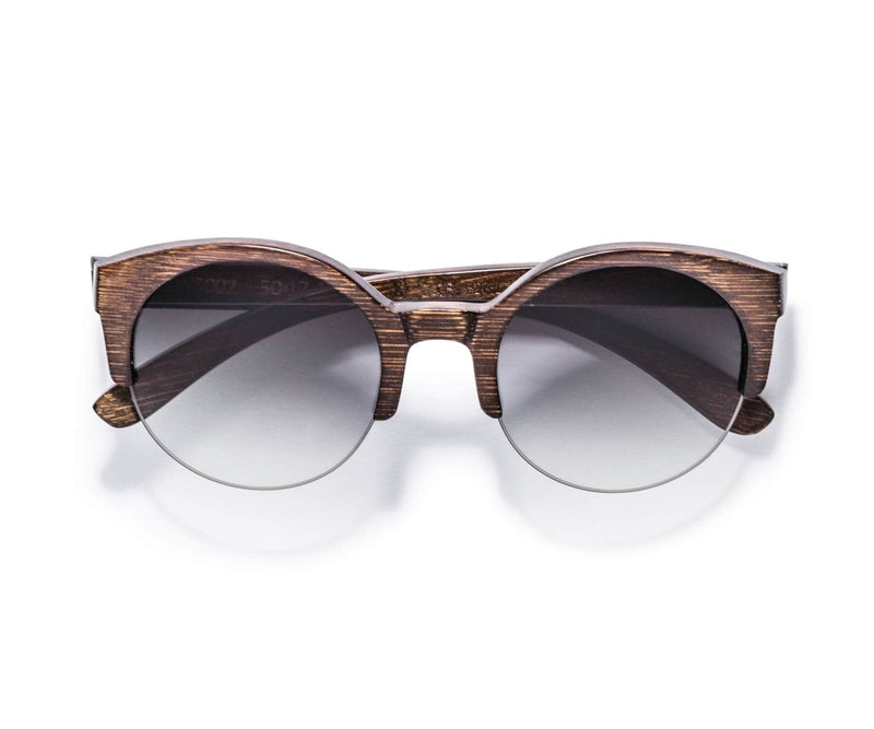 Kraywoods Tom & Cat, Cat-Eye Sunglasses made from Bamboo wood with Gradient Brown Lenses