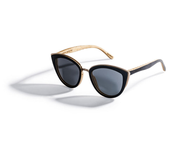 Kraywoods Willow, Bamboo Cat Eye Sunglasses Featuring 100% UV Protection, Polarized Lenses