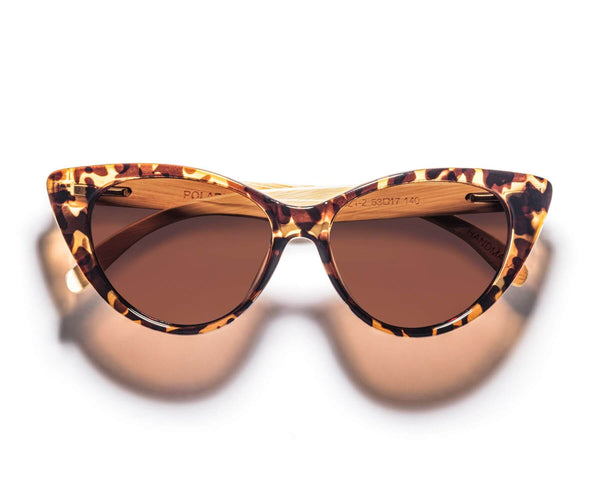 Kraywoods Stella, Tortoise Cat-Eye Sunglasses featuring Bamboo Arms and 100% UV Protection, Polarized Lenses