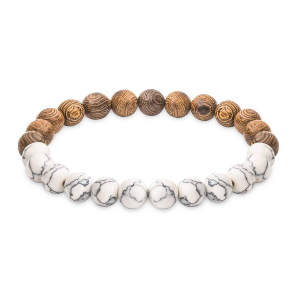 Marble Bracelet with Wooden Beads for women