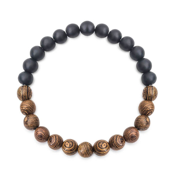 Onyx Bracelet with Wooden Beads for men