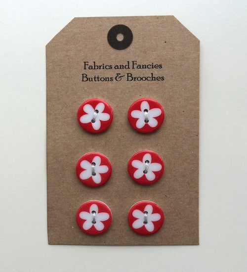 Single Flower Red Buttons