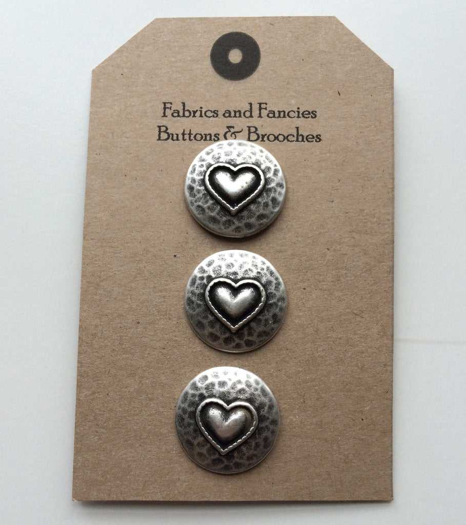 Hammered Heart 22mm Buttons
