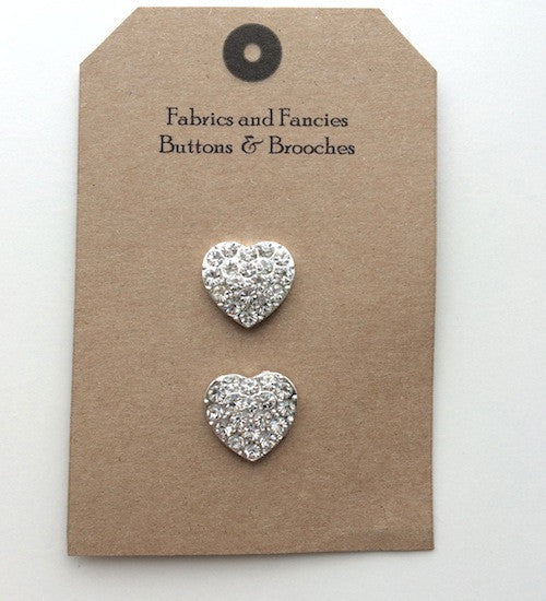 Diamonte Heart Buttons