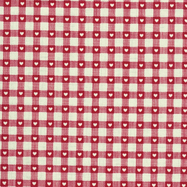 Scandi Christmas Gingham & Hearts in Red