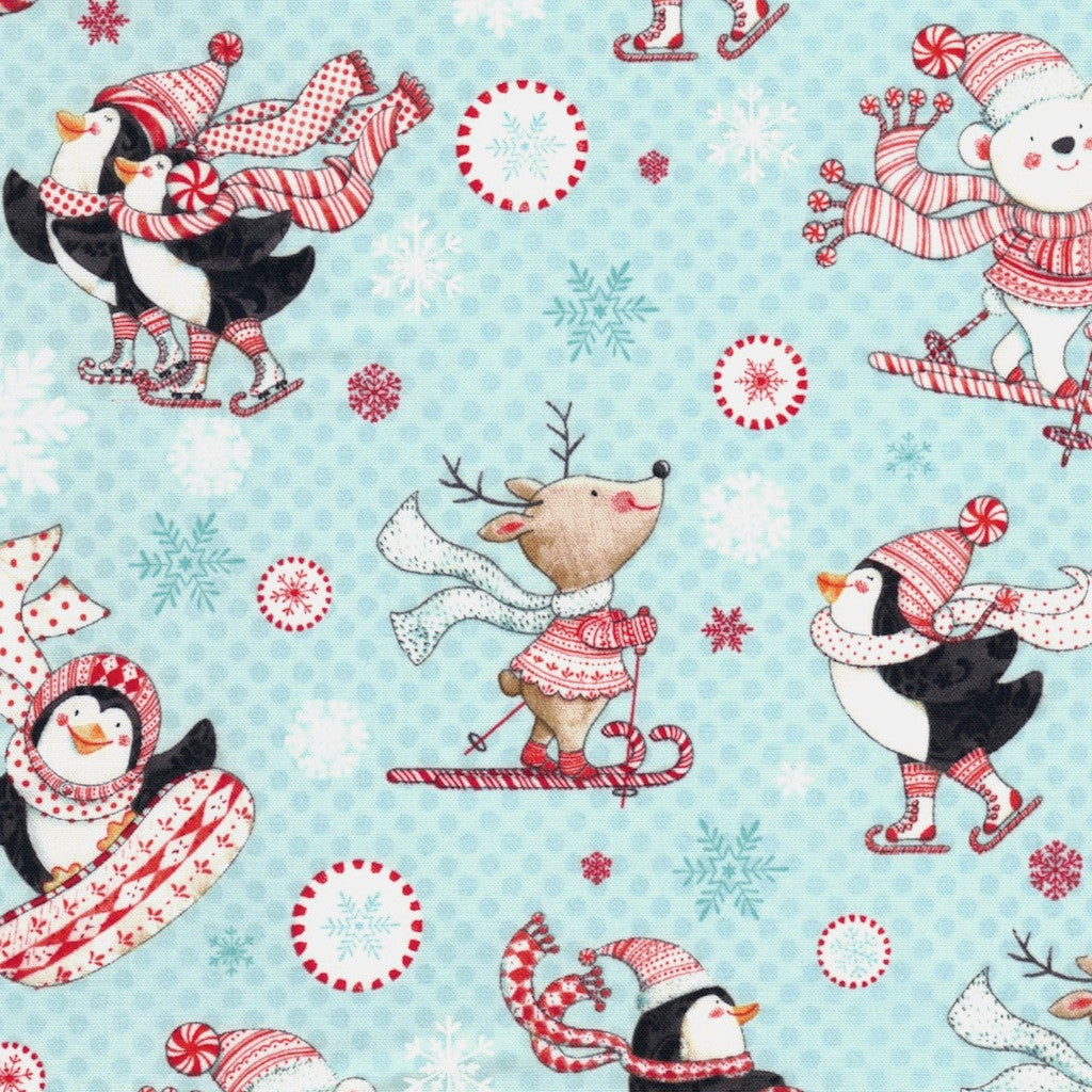 Christmas Penguins on Aqua