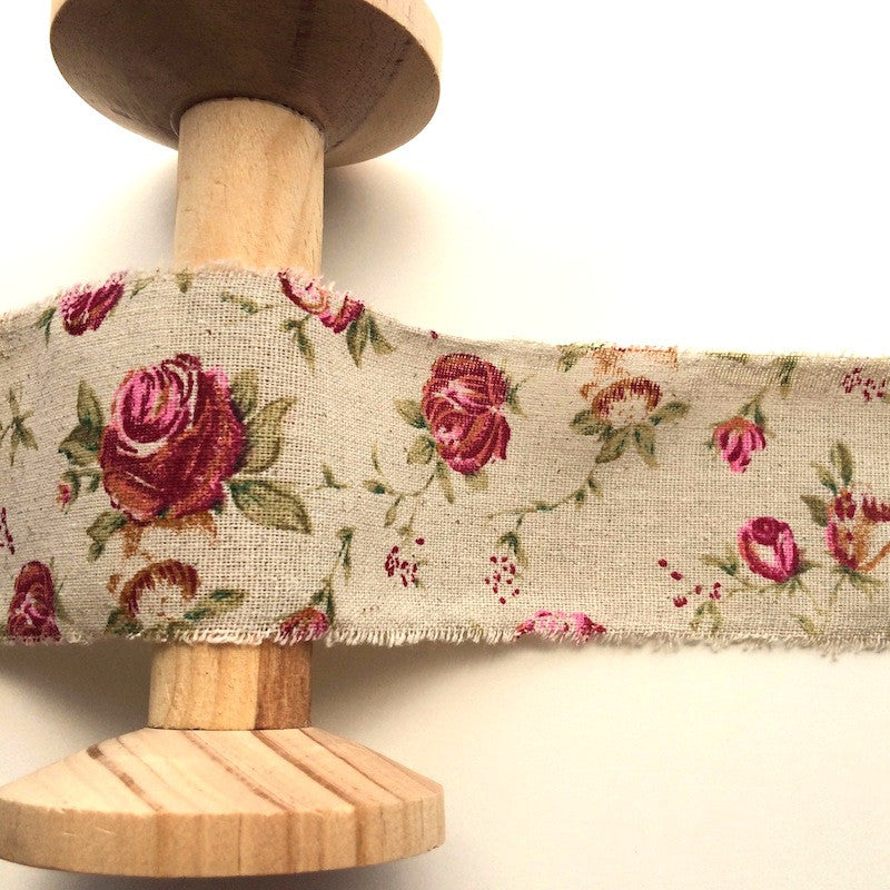 Roses on Linen Ribbon