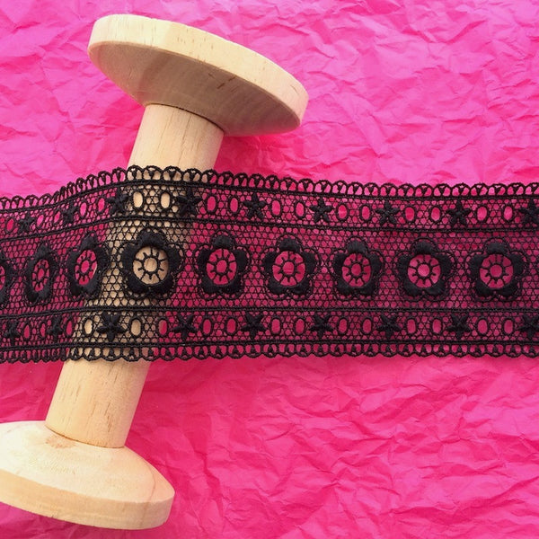 58mm Flower Band Guipure Lace Black
