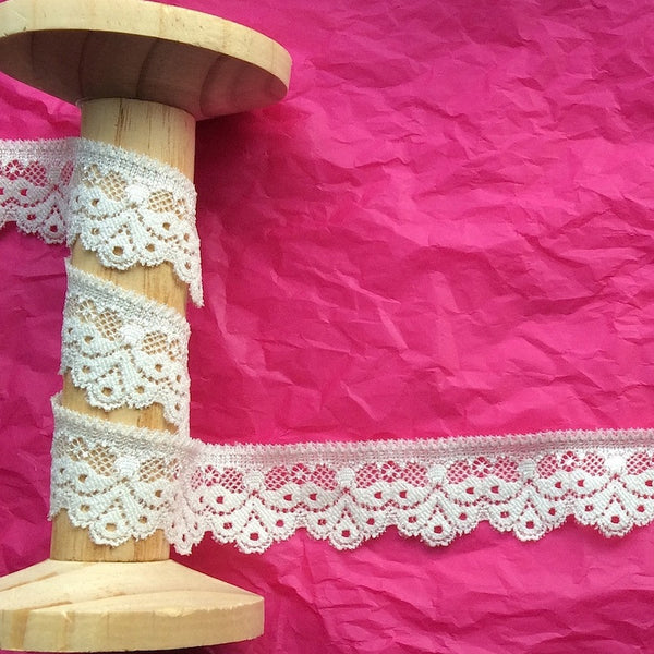 26mm Droplet Edge Stretch Lace in Ivory