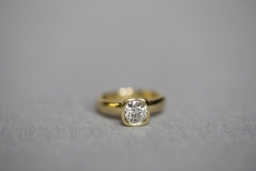 Custom Yellow Gold Engagement Ring Redesign Philadelphia Jewelry