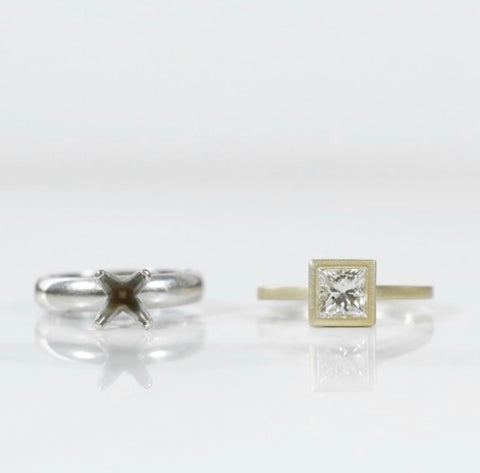 heirloom redesign princess cut bezel set diamond matte finish yellow gold engagement ring made with heirloom diamonds