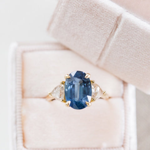 oval sapphire three stone gemstone engagement ring