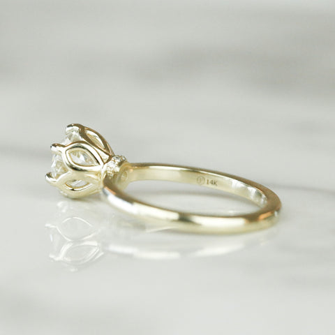 diamond engagement ring with petal prongs