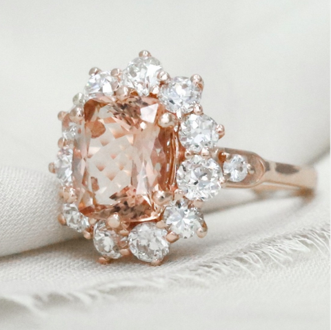 morganite custom engagement ring in 14k rose gold with an old european cut diamond halo