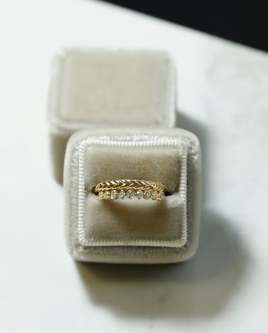 emma and Sophie rope and diamond wedding bands available in rose white or yellow gold