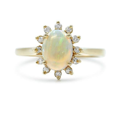 14k yellow gold opal estate ring with a white diamond halo