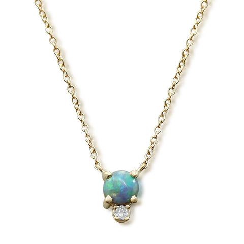 14k yellow gold round Australian black opal and diamond necklace with a 16-18in adjustable chain