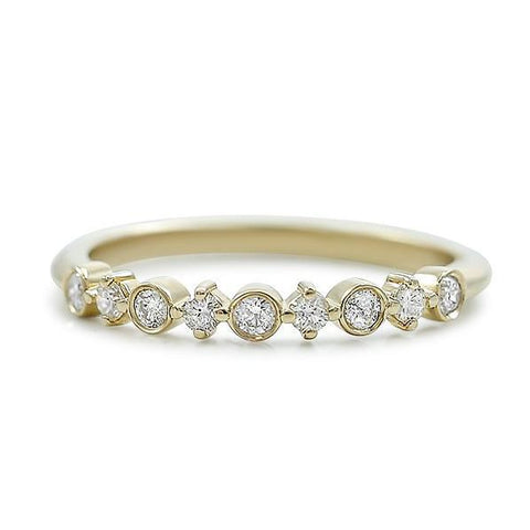 round prong set and bezel set diamond wedding band available in 14k yellow, white or rose gold