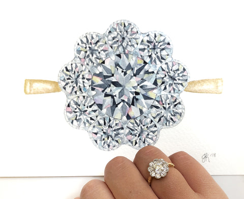 watercolor painting of estate diamond engagement ring