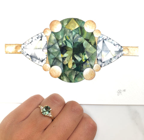 Montana no heat sapphire gemstone ring with rose cut diamonds and a yellow gold band in a waterlcolor painting