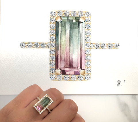 watercolor painting of fine jewelry watermelon tourmaline and diamond ring