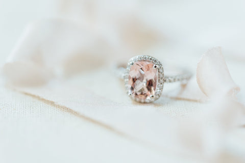 morganite diamond halo engagement ring white gold platinum