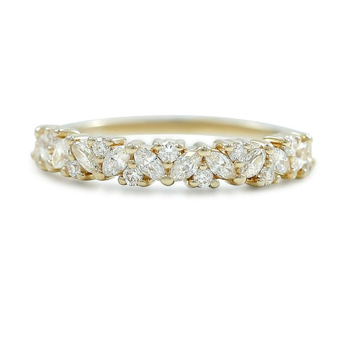 Marquis and round diamond anniversary wedding band available in rose white or yellow gold