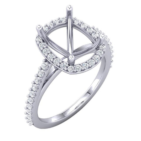 CAD rendering halo diamond custom engagement ring