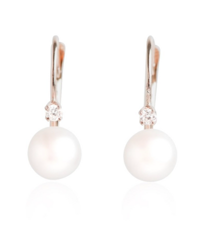 yellow gold diamond and pearl dangly earrings