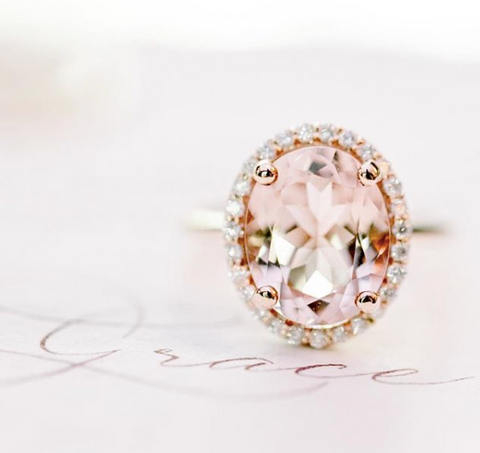 londyn ring pink morganite center stone with a white diamond halo