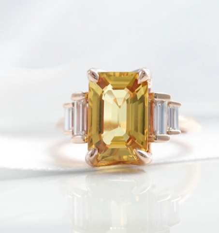 yellow sapphire and rose gold right hand ring with matching baguette diamonds push present