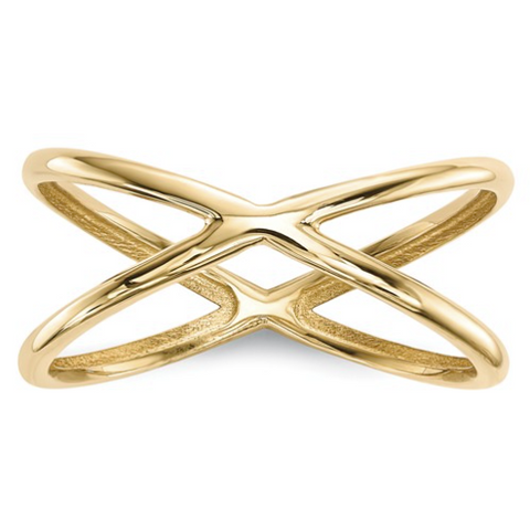 14k yellow gold x infinity shaped right hand ring