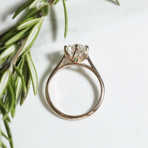 rose gold diamond custom prong set engagement ring with a hidden gemstone