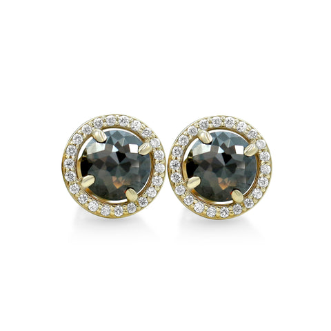 black diamond stud earrings with yellow gold posts and matching diamond halos