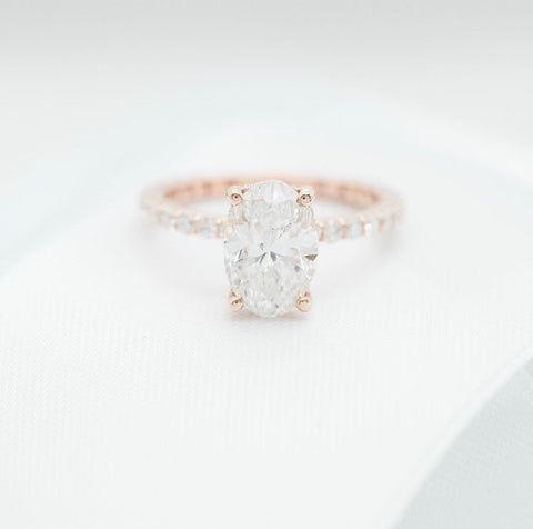 rose gold and diamond oval custom engagement ring