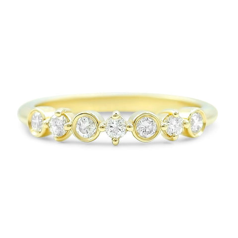 14k yellow, rose or white gold round diamond wedding band with alternating bezel and prong settings