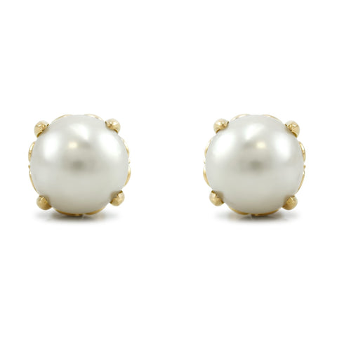 antique pearl stud earrings set in a mix of 14k yellow and rose gold