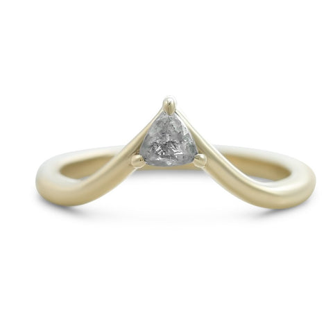 light triangular shaped gray diamond contour band in 14k yellow gold