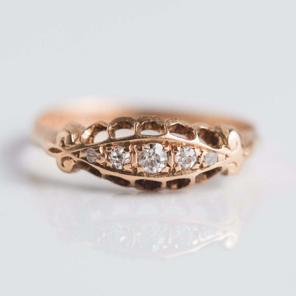 Antique Gold 5 Diamond Ring