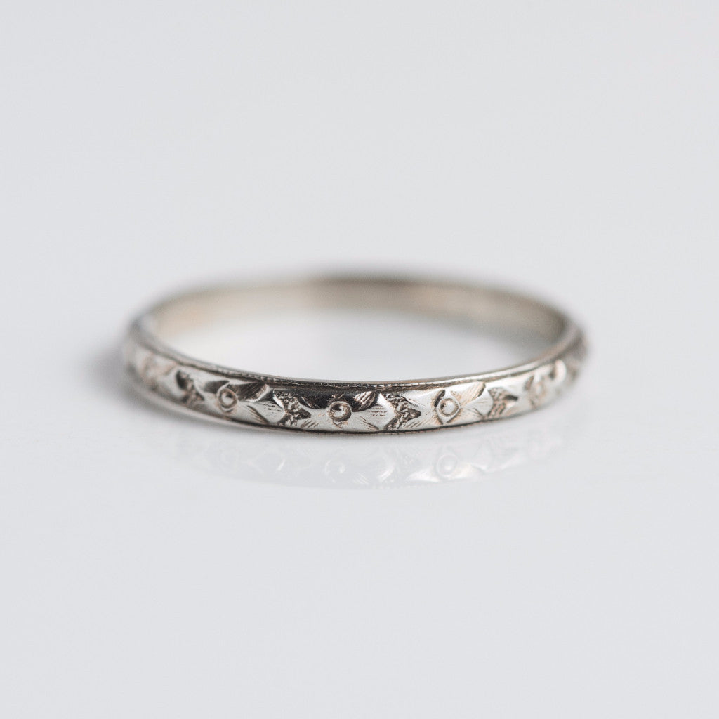 Engraving Ideas For Wedding Bands: Antique Estate White Gold Engraved Wedding