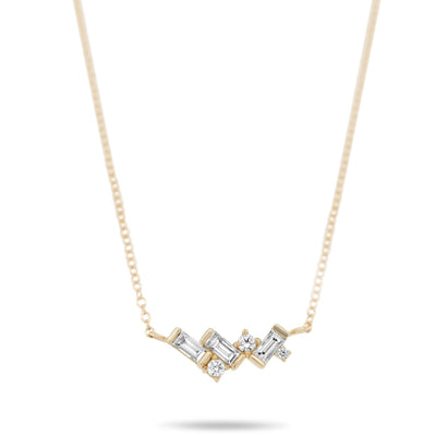 14k yellow gold baguette and round diamond cluster necklace