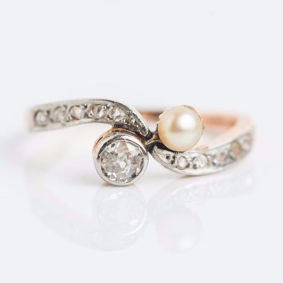 Swirl Shank Pearl and Diamond Yellow and White Gold Ring