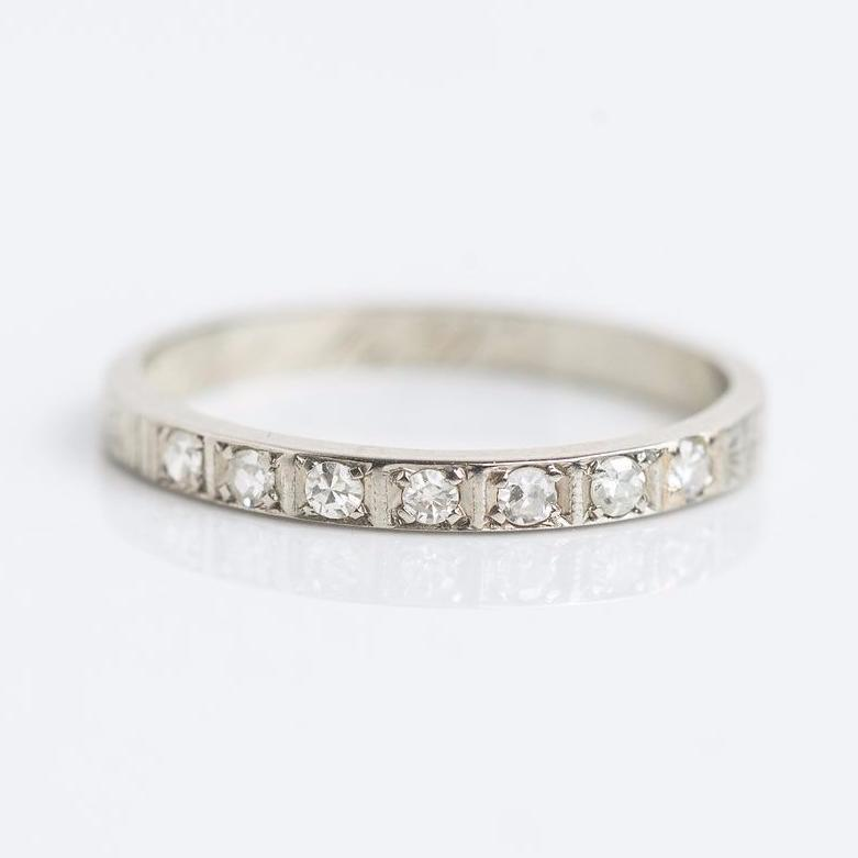 Traditional Diamond Band with Etched Details