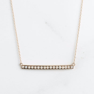 Yellow Gold Pearl Bar Necklace
