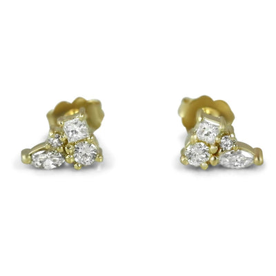 14k yellow gold everyday diamond cluster stud earrings with a round brilliant cut, princess cu and marquise diamond