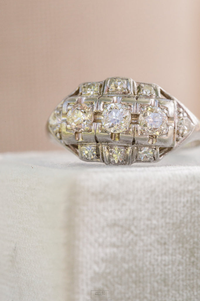 platinum and diamond antique wedding ring