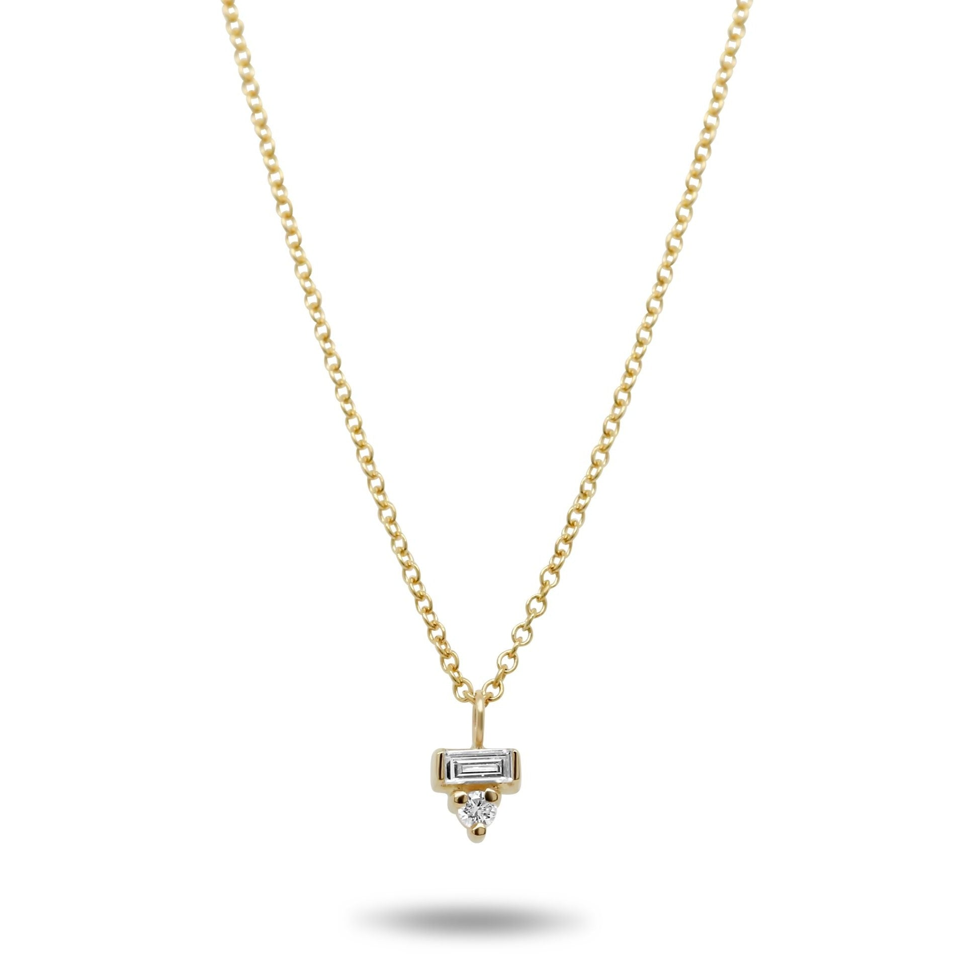 14k yellow gold baguette and round diamond dainty necklace 16in long chain under 1000