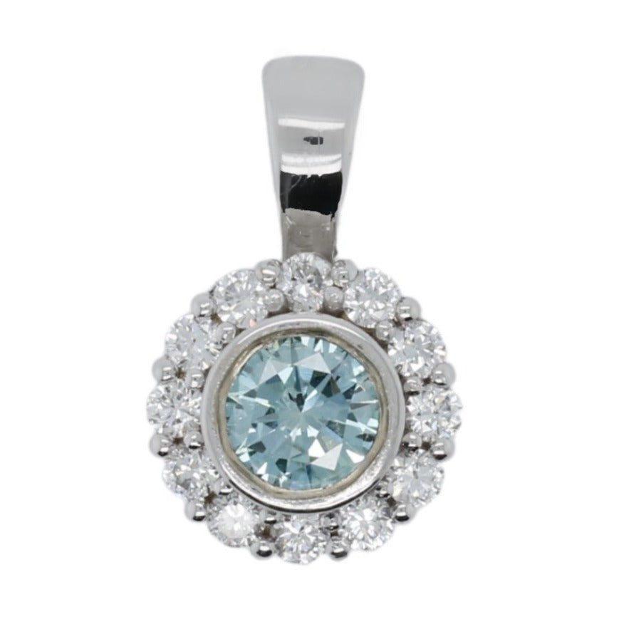 14k white gold estate pendant with a blue diamond bezel set center stone and a diamond halo