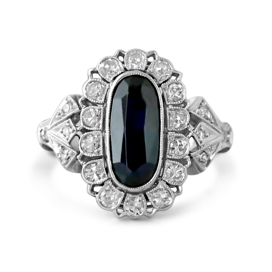 palladium sapphire and diamond halo art deco antique ring