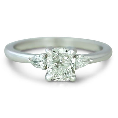 14k white gold three stone cushion cut diamond engagement ring with pear shaped side stones